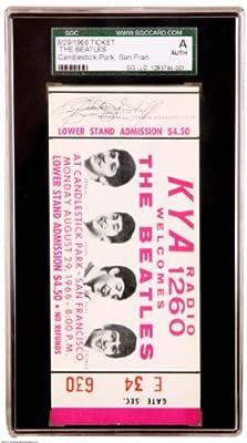 Beatles Original Candlestick Park 8/29/66 Full Ticket (Last Beatles Performance In USA ) SGC Auth