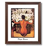 Diego Rivera Lady Lilies Flower Contemporary Home Decor Wall Picture Cherry Framed Art Print