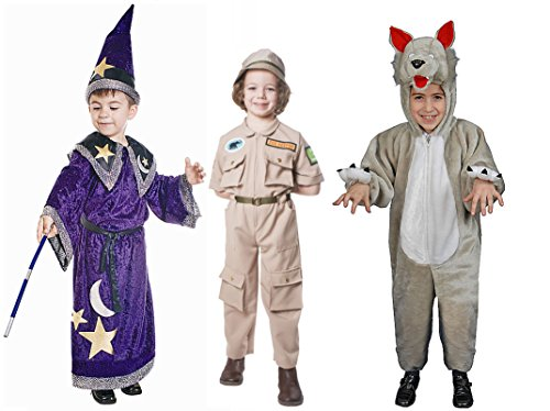 Dress Up America Zoo Keeper Magic Wizard kids Plush Wolf Costumes for Halloween