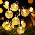 String Lights 16ft 40 LED Crystal Ball Waterproof Outdoor String Lights Battery Powered Globe Fairy String Lights for Garden, Yard, Home, Landscape,Christmas Party (Warm White)