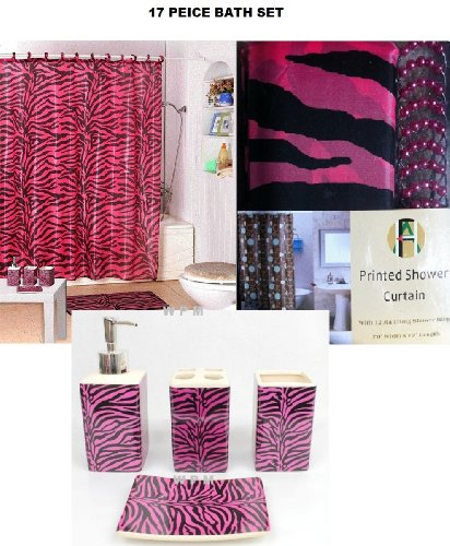 Bathroom sets 17 piece bath accessory set pink zebra for Pink bathroom accessories sets