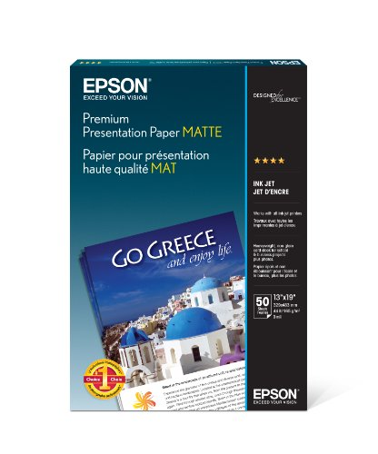 Epson Premium Presentation Paper MATTE (13x19 Inches, 50 Sheets) (S041263) (Double Sided Matte Photo Paper compare prices)