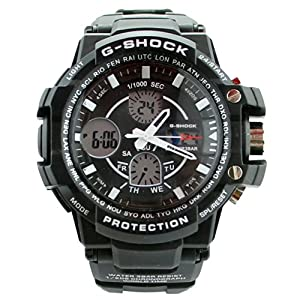 Fashion Sport Watch Multifunction Multi-LED Dual Time Led Light Analog Digital Waterproof Alarm Shock Boys Men Wristwatch With Gift Package (Black)