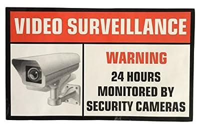 "MFLABEL® - 6 Pack of 3.54"" x 2.24"" Home Business Security DVR Camera Video Surveillance System Stickers Window Door Warning Alert Decals Self Adhesive Vinyl"