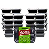 Freshware Meal Prep Containers [21 Pack] 3 Compartment with Lids, Food Storage Bento Box   BPA Free   Stackable   Lunch Boxes, Microwave/Dishwasher/Freezer Safe, Portion Control, 21 day fix (24 oz)