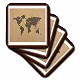 Florene Maps In Exotic Outline - Image of Exotic Map Of World On Tan Concrete - set of 8 Coasters - Soft (cst_243571_2)