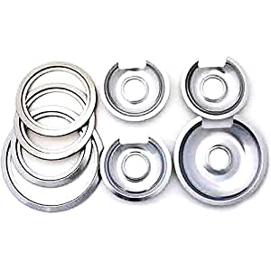 8 Pack Hotpoint Drip Pans, 4 trim rings, Chrome finish, electric ranges from MegaDeal