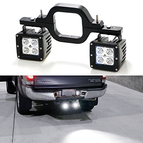 iJDMTOY Tow Hitch Mount 40W High Power CREE LED Pod Backup Reverse Lights/Rear Search Lighting/Off-Road Work Lamps For Truck SUV Trailer RV, etc (Reverse Light Mounting Bracket compare prices)