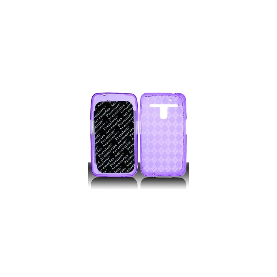 For Metro PCS LG Esteem 4G MS910 Phone Accessory   Purple Plaid Designer Protective TPU Soft Gel Skin Case Cover+ LF Stylus Pen