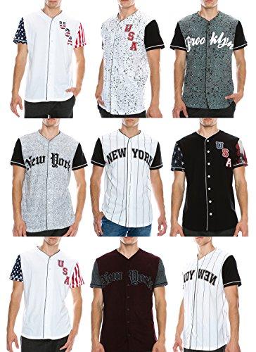 Mens Hipster Hip Hop Button Down Baseball Jersey Short