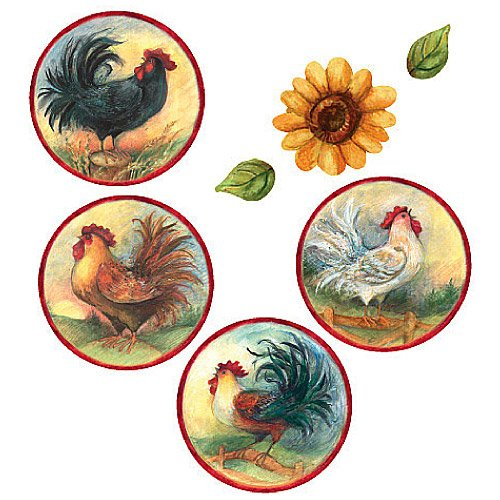 Wallies 13640 Roosters and Sunflowers Peel and Stick Vinyl Decal