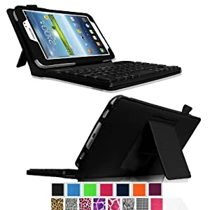 Fintie Folio Key Bluetooth Keyboard Case Cover for Samsung Galaxy Tab 3 7.0 inch Tablet with ABS Hard Material Removable Wireless Keyboard- Black at Electronic-Readers.com