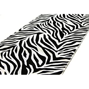 12'' x 108'' Black White Safari Animal Print Zebra Runner