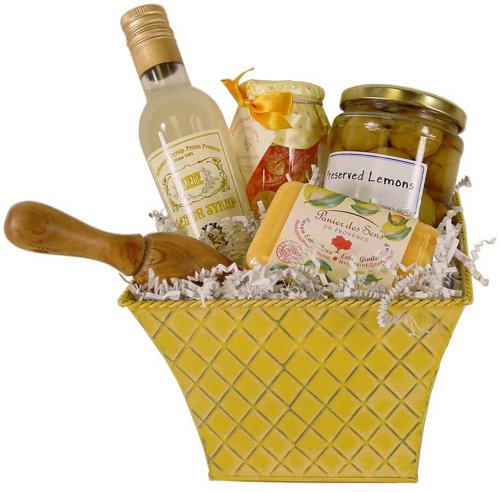 Lemony Fresh Citrus themed gift basket French gourmet and soap