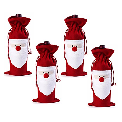 Gabkey Pack of 4 Christmas Wine Gift Bags - Drawstring Christmas Red Wine Bottle Cover Bags (Monogrammed Wine Carrier compare prices)