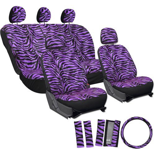 Oxgord 17Pc Zebra Animal Print Seat Cover Set For Subaru Legacy, Airbag Compatible, Split Bench, Purple & Black front-299345