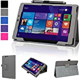 """Evecase Nextbook Flexx 8 (NXW8QC132)/ Nextbook Ares 8 (NXA8QC116)/ Nextbook 8"""" Windows 8.1 (NXW8QC16G) Case, SlimBook Leather Folio Stand Case Cover with Magnetic Closure - Gray"""