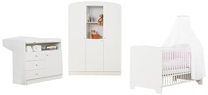 Pinolino Kinderzimmer Jil groß, 3-teilig, Kinderbett (140 x 70 cm), Wickelkommode mit Wickelaufsatz und großer Kleiderschrank, weiß (Art.-Nr. 10 00 90 G)
