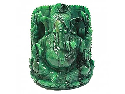 Vedic Vaani Ganesha in Bird stone - 730 grams Green Idols