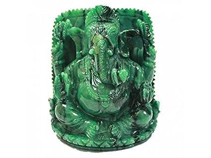 Vedic Vaani Ganesha in Bird stone - 730 grams Green Idols