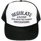 (アスナディスペック)ASNADISPEC メッシュキャップ CAP メンズ スナップバック ストリート ブランド ミリタリー 柄 ロゴ プリント 帽子 as-cap-15 BLACK/WHITE