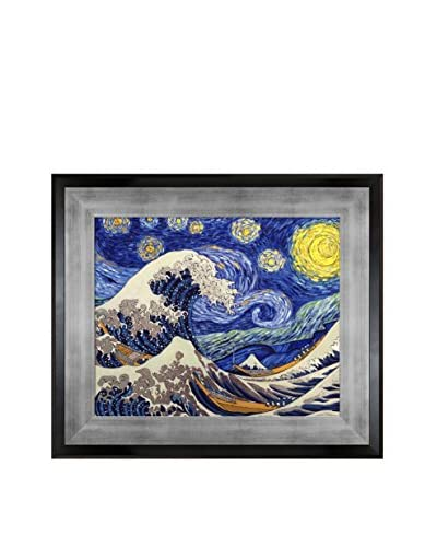 Vincent Van Gogh & Katsushika Hokusai's Starry Night Wave Collage Framed Hand Painted Oil On Canvas,...