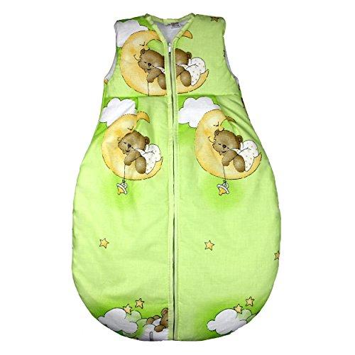 Vierjahreszeiten Schlafsack für Baby Schlafsack Baumwolle Kinderschlafsack Wattierter Babyschlafsack ohne Ärmel, Farbe: Bärchen Grün, Größe: 92-98