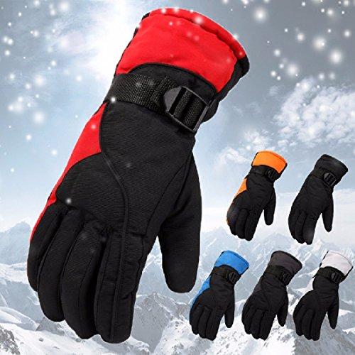 ZHGI Maschio guanti da sci invernale guanti caldi esterno impermeabile imbottito per motociclo elettrico guanti di cotone per uomo,grigio chiaro
