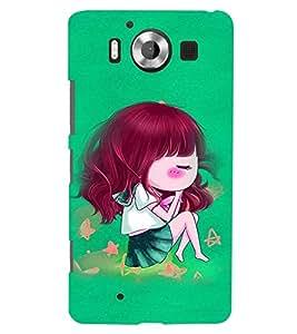 Fuson Premium Cute Sleeping Doll Printed Hard Plastic Back Case Cover for Microsoft Lumia 950