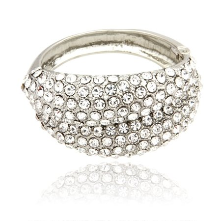 MizEllie Costume Jewellery Ice Veiled Wrap Silver Tone Crystal Hinged Bangle Bracelet ,Can Make An Ideal Gift With Free Elegant Organza Jewellery Pouch