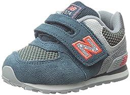 New Balance KG574I Outside Pack Classic Running Shoe (Infant/Toddler), Blue/Grey, 3 W US Infant