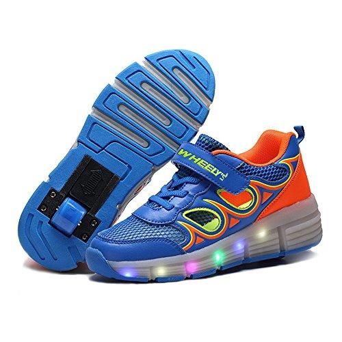 Jungen Heelys Mädchen Sommer hohlen Doppel Schlittschuhe erwachsene Kinder können eine einzelne Runde verstecken mit blinkenden LED-Turnschuhe (38, Blau)