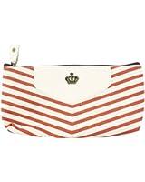 KINGSO Canvas Navy Style Pen Pencil Case Cellphone Coin Cosmetic Makeup Bag Pouch Purse,Orange