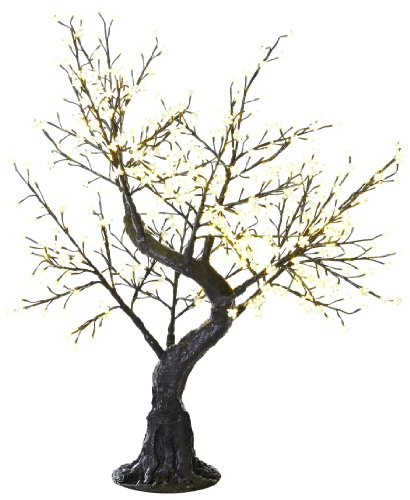 Arclite Nbl-B145-6 Bonsai Cherry Blossom Tree With Leaves, 5' Height, With Black Trunk, Clear Crystals And Warm White Lights