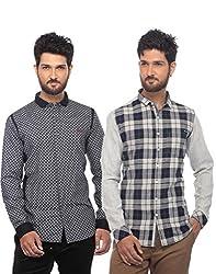 Apris Mens Casual Combo Shirts-BLACK-BLACK (S-3327-3227) (XL)