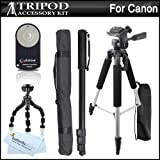 "Triple Tripod Kit + Wireless Shutter Release Remote Control For Canon EOS Rebel T5i, T4i, T3i, T2i, XT, Xti, 5D, 7D, 70D DSLR (Canon RC-5 & RC-6 Replacement) Includes 57"" Full Tripod + 67"" Monopod + 10"" Flexible Tripod + Wireless Shutter Release + More"