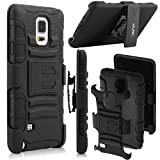 Galaxy Note 4 Case,ULAK Samsung Galaxy Note 4 Case Dual Layer Heavy Duty Holster Case with Kickstand and Locking Belt Swivel Clip For Samsung Galaxy Note 4 (Black)