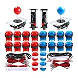 Qenker 2 Player LED Arcade DIY Parts 2X USB Encoder + 2X Joystick + 20x LED Arcade Buttons for PC, MAME, Raspberry Pi, Windows (Red & Blue Kit) (Color: Red & Blue Kit)