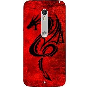 Casotec Dragon Pattern Red Black Design Hard Back Case Cover for Motorola Moto X Style
