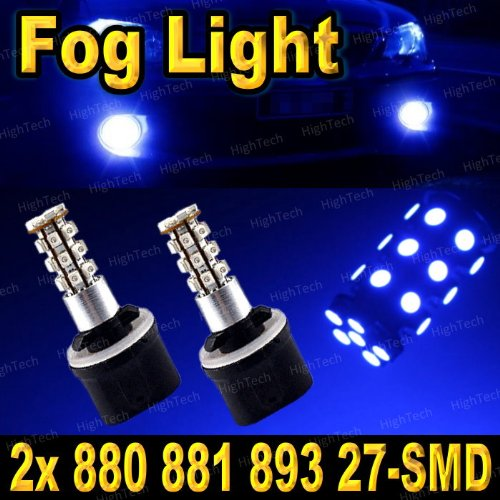 Pair Ultra Blue 880 27-Smd Led Headlight Bulbs For Driving Fog Light / Day Time Running Light Drl (Cross Reference: 881 / 886 / 894 / 896 / 898 / 893 / 885 / 890 / 892 / 899 )