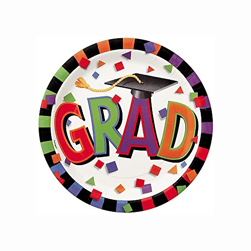 Colorful Confetti Graduation Dessert Plates, 8ct