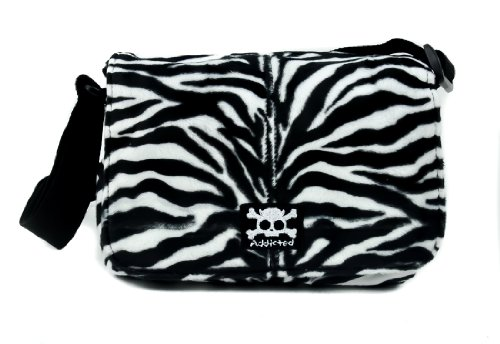 Black & White Fuzzy Zebra Flap Shoulder Bag Animal Print Purse