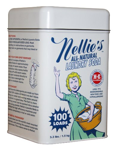 Nellie's NLS-100T All Natural Laundry soda, 100 Load Tin, NLS-100T, 3.3 Pound