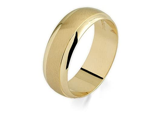 F.Hinds Mens Jewellery Jewelry 9ct Gold Satin And Polished Grooms Wedding Ring - 7mm