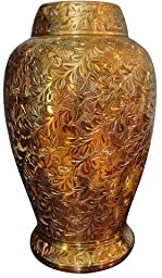 Urnporium Pleasant Solace Adult Brass Funeral and Cemetery Cremation Urn for Ashes