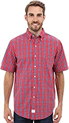 IZOD Men's Short Sleeve Saltwater Small Plaid Button-Down Woven
