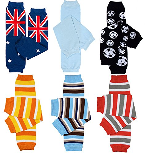 6 Pack of Judanzy Baby Boys Leg Warmers in Stripes ,Solid, and Designs