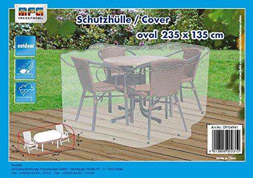 Reißfeste XXL Schutzhülle für eine Gartenmöbelgruppe von MFG, transparent, 235x135x70 cm, in praktischer Tragetasche kaufen