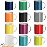 Set Of 12 Tea Coffee Mugs Cups 12 Funky Assorted Colours Bright Colour Mugs New