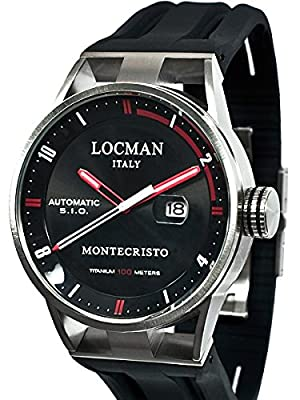 Locman Montecristo 100 Meter Automatic Watch with 44mm Stainless Steel and Titanium Case 511BKRDBK